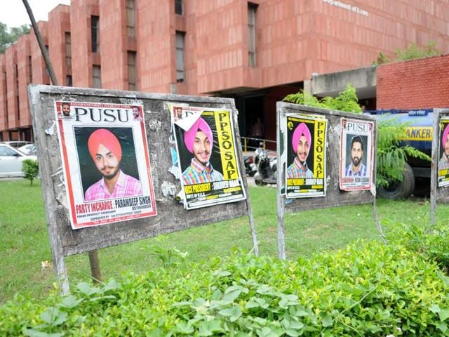 Posters of student unions pasted on the notice boards outside the law department at the PU in Chandigarh on Tuesday.