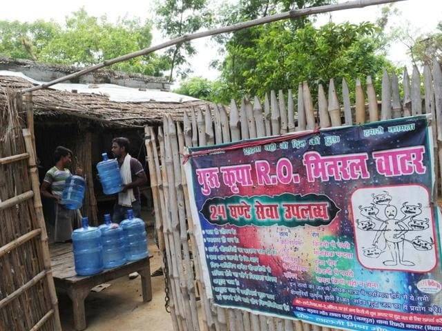 One of the RO water plants run in a thatched hut at Simri village of Buxar district.