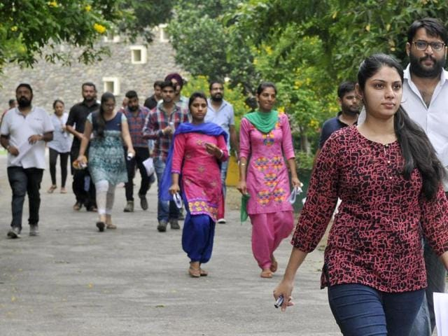 Candidates coming out after appearing in UPSC Preliminary Exam at Government College for Girls in Ludhiana on August 07, 2016.