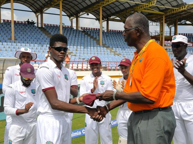 Alzarri Joseph bowls to Ajinkya Rahane on Day One of the third Test at Gros Islet in St Lucia on Tuesday.