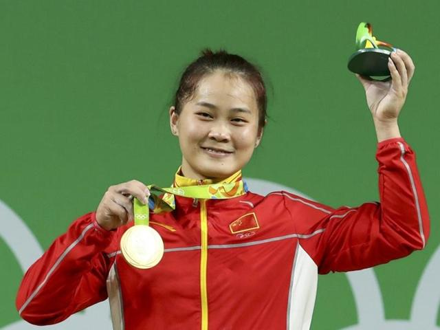 Deng Wei (CHN) of China poses with her medal.