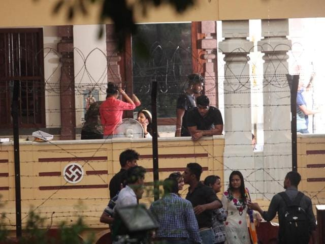 Actor Vidya Balan inside Laxmi Narayan temple during the shoot of the film.