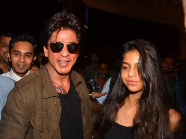 Actor Shah Rukh Khan with his daughter Suhana at the Mumbai airport.