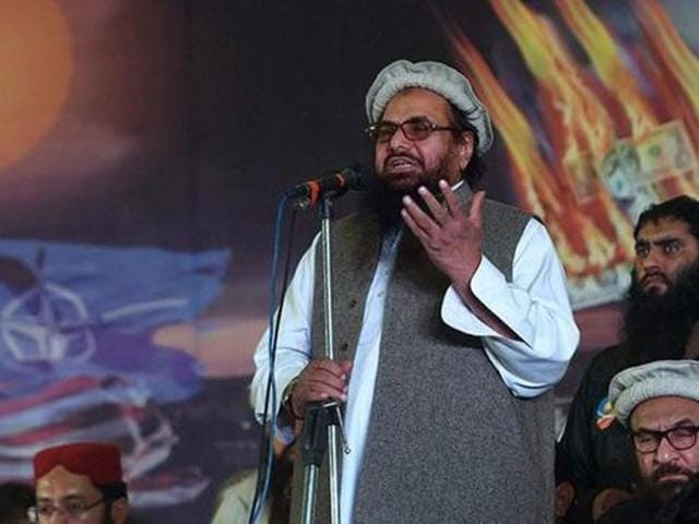 Lashkar-e-Taiba founder Hafiz Saeed speaks at a rally in Pakistan.