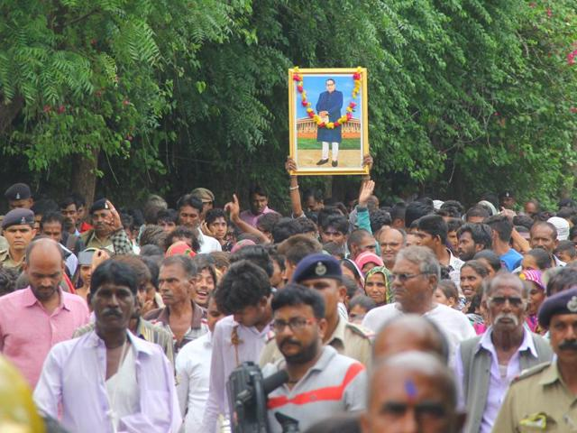 Dalits participates in a protest rally from ahmedabad to Una.