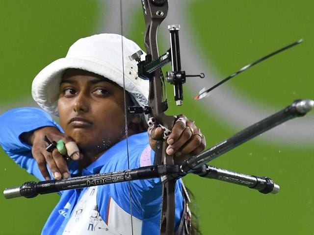 India's Deepika Kumari shoots during the Rio 2016 Olympic Games women's competition.