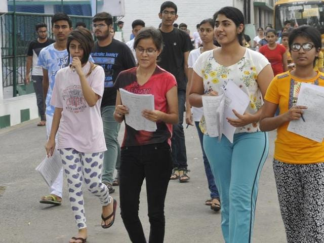 Students came out from their center after appearing for NEET-2 exam in Chandigarh on July 24, 2016.