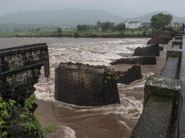 The incident comes just a week after 42 people died when a bridge at Mahad on the Mumbai-Goa highway in Raigad district was washed away, taking with it two state-owned buses and at least two cars