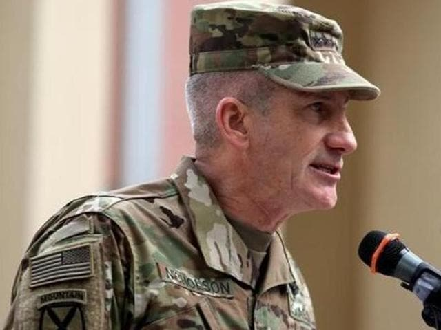 File photo of US commander General John Nicholson.  Nicholson, who heads the US operations in Afghanistan, has said that military training by India to thousands of Afghan security personnel has helped that country significantly.