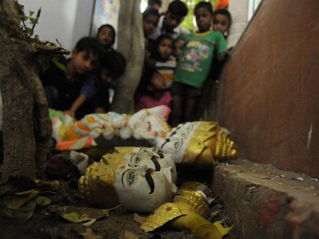 A day after demon king Ravana's idol was vandalised in Bisrakh village, police on Wednesday registered an FIR against five identified and 25 unidentified people.