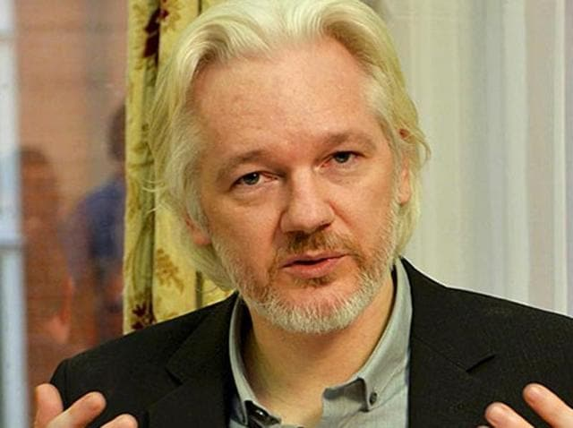 WikiLeaks founder Julian Assange during a news conference at the Ecuadoran embassy in  London, Britain, on August 18, 2014.
