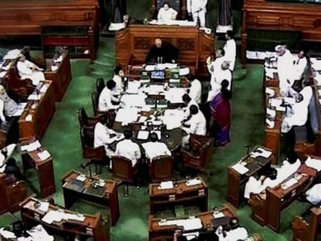 A scene in the Lok Sabha during monsoon session of Parliament in New Delhi.