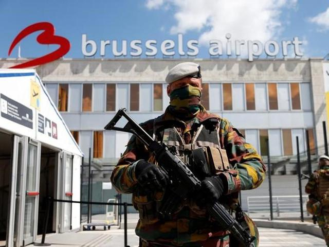 Belgian soldiers secure the departure hall at Zaventem international airport near Brussels, Belgium, on August 10, 2016. In March this year,  suicide bombers hit the airport and the Maalbeek metro station, killing 32 people.