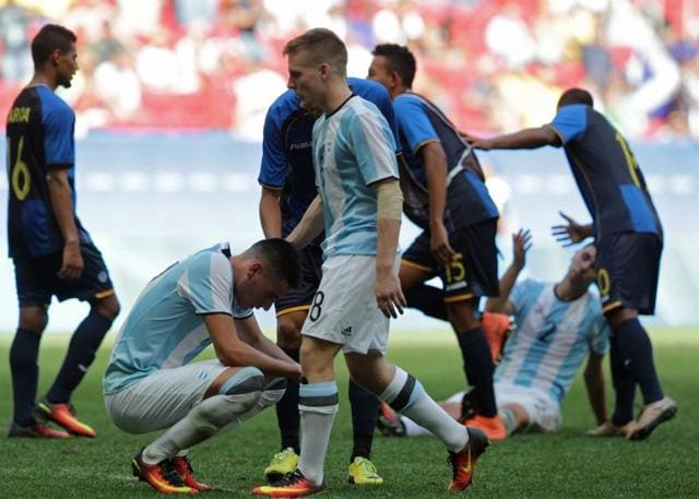 Goalkeeper Geronimo Rulli of Argentina was in tears after Argentina were eliminated from the tournament.