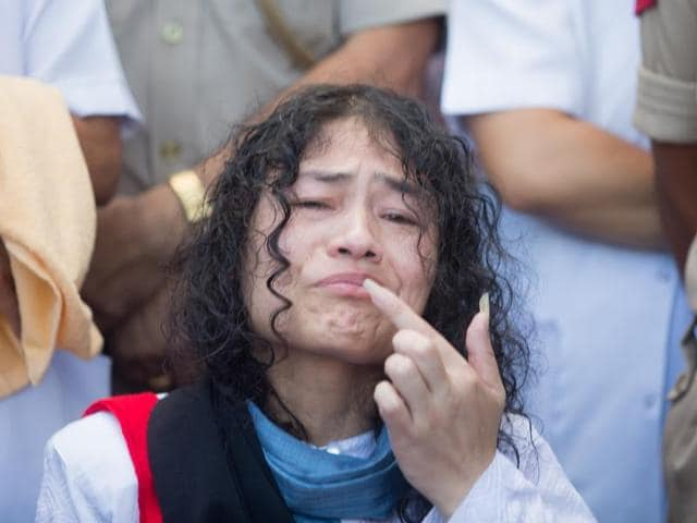Irom Sharmila reacts during a press conference in Imphal. Sharmila found herself lonely within hours of calling off her protest on Tuesday.