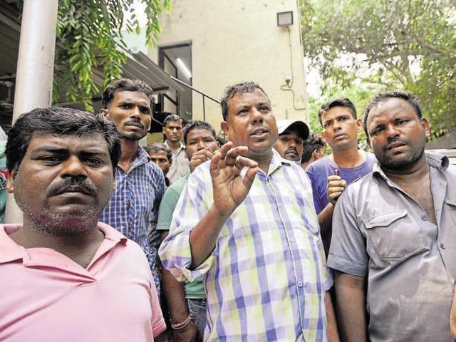 Matibool's relatives wait for the post-mortem report at DDU Hospital in West Delhi's Subhash Nagar on Thursday.