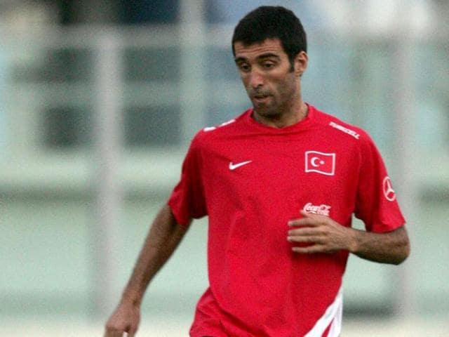 Turkey's former national football team player Hakan Sukur during a training session at the National Training Grounds in Ta'Qali, outside Valletta.