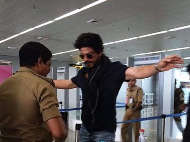 The Bollywood heartthrob is just like the rest of us, isn't he? SRK undergoing security check at Chennai airport in May, 2016. (Pinterest)