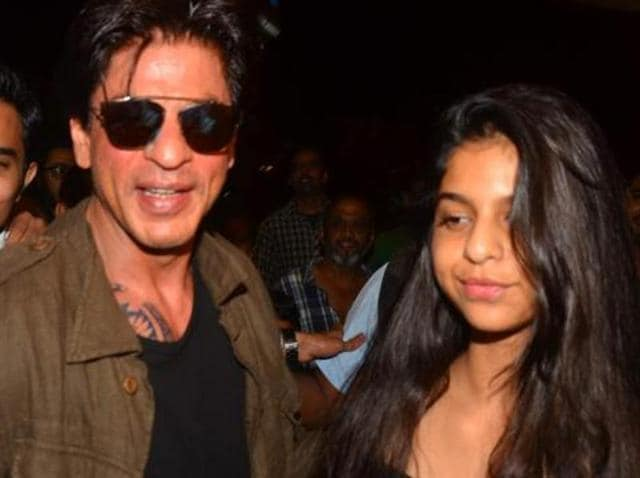 Shah Rukh and his daughter Suhana at the Mumbai airport on Wednesday.
