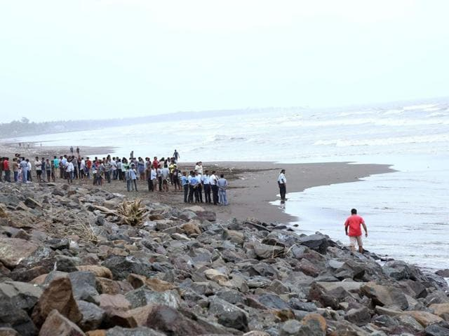 Search operations underway to find the missing teens at Rajodi Beach in Vasai  on Thursday.