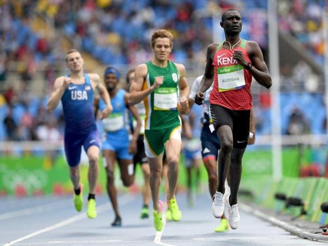 Jinson Johnson at the back of the pack (second from left) as David Lekuta Rudisha wins the 800m heat 3 at the Rio Olympics on August 12, 2016.