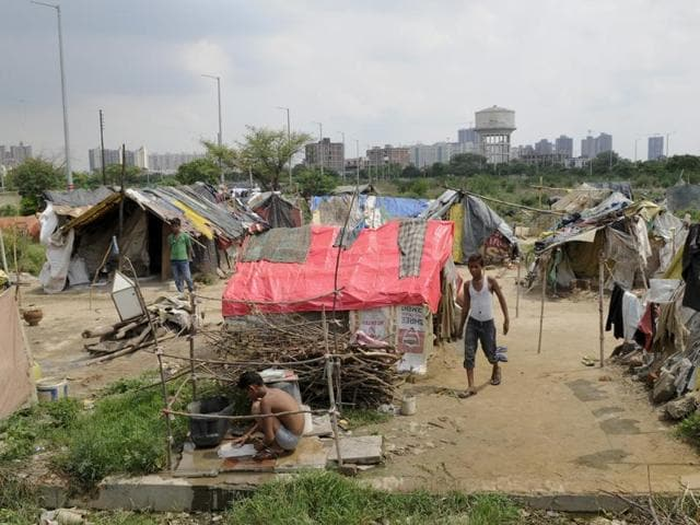 Slum dwellers have built their settlements on the Sector 43 plot that was under litigation for 20 years.