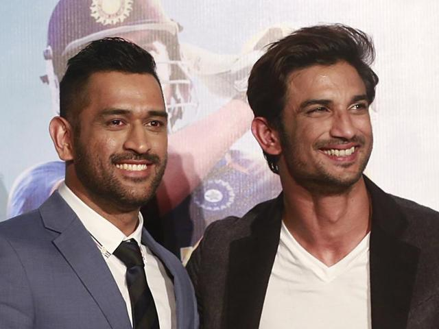 Indian cricketer Mahendra Singh Dhoni, left, and Bollywood actor Sushant Singh Rajput pose for a picture during the trailer launch of the upcoming movie MS Dhoni: The Untold Story in Mumbai.