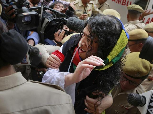 Manipuri human rights activists protest against the Irom Sharmila's decision to end her hunger strike against Afspain Imphal.