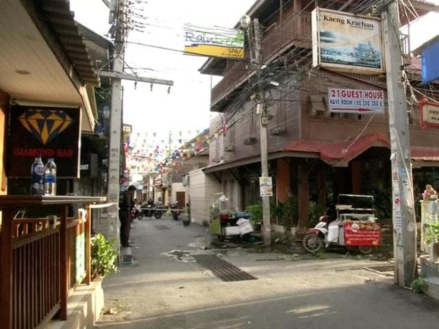 The site of one of two bomb blasts in Hua Hin, south of Bangkok, Thailand.