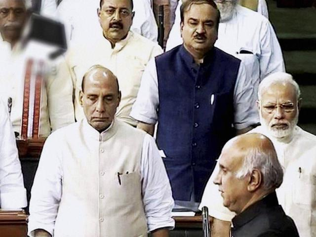 Prime Minister Narendra Modi, home minister Rajnath Singh and other ministers in the Lok Sabha on Friday.