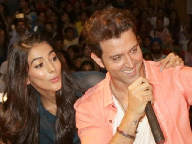 Hrithik Roshan and Pooja Hegde during a press conference regarding their upcoming film Mohenjo Daro in New Delhi.