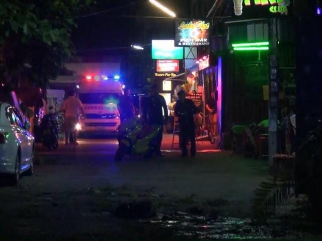 In this screen grab taken from video, emergency services at the scene of a bomb attack in Hua Hin, Thailand.