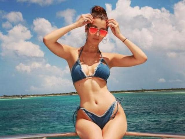 Bella put her dangerous curves on proud display while celebrating reality TV star and fashionista Kylie Jenner's 19th birthday in the Bahamas.