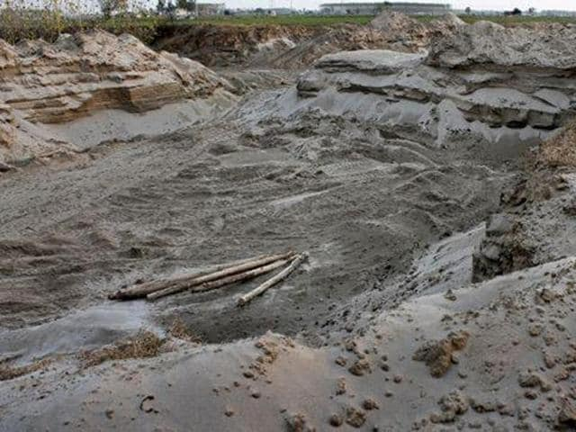 The Sutlej river basin plundered over the years at Jodhewal village in Ludhiana district.