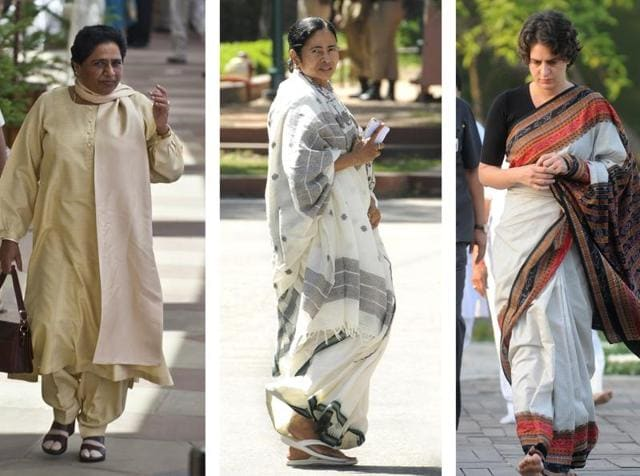 (From left to right) Mayawati conveys that expensive tastes are no longer a preserve of the upper castes; Power has not infiltrated Mamata Banerjee's wardrobe; Priyanka Gandhi believes in changing into costume before charging into battle; Hillary Clinton is confident enough to find her style.