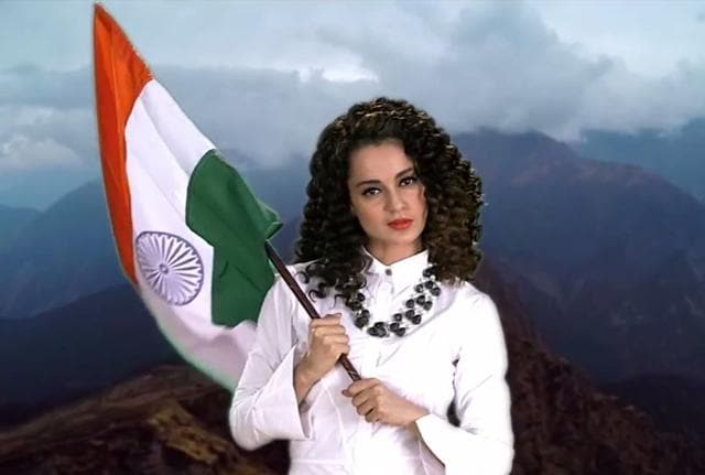 The 3 minute-long video has Kangana saluting and lip synching to the song sung by Siddhart Sharma, Piyush Wasnik and Yash Chauhan.