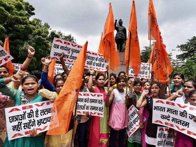 Akhil Bharatiya Vidyarthi Parishad (ABVP) activists protest against the Bulandshahr gangrape case in Lucknow on Friday.