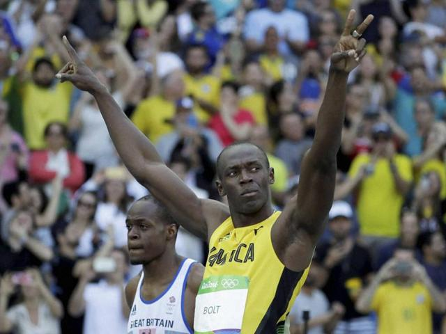 Jamaica's Usain Bolt competes in a men's 100-meter heat.