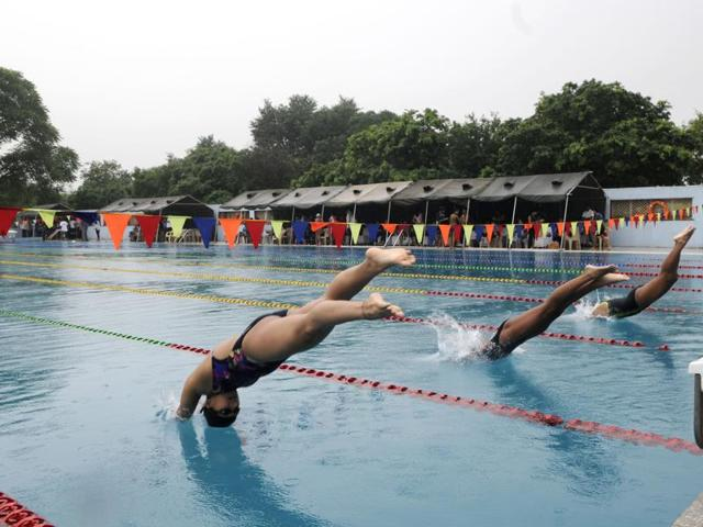 11-year-old swimmer broke his neck when he jumped into cloudy water during the swimming tournament being held by district swimming association at CRPF complex at Kadarpur village. Boy is admitted at AIIMS, also a girl sustained minor injuries on head and nose .
