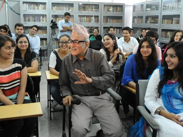 Actor Mohan Agashe interacting with students at Panjab University in Chandigarh on Friday.