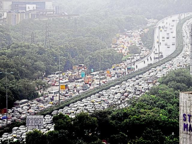 Commuters said traffic moved at a snail's pace on the Delhi-Gurgaon Expressway.