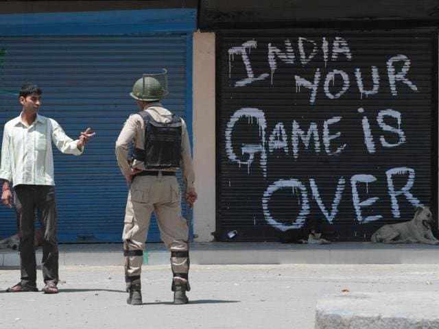 A paramilitary soldier during the curfew in downtown area of Srinagar on August 1, 2016.