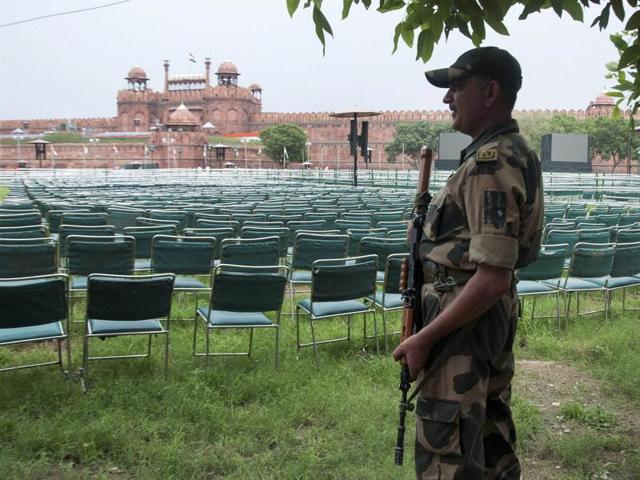 A security man keeps vigil at Red Fort ahead of Independence Day celebrations, in New Delhi on Saturday.