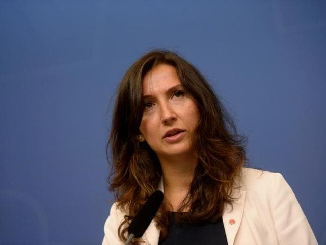 Swedish minister Aida Hadzialic announces at a news conference that she is resigning her education post after being caught driving under the influence of alcohol.