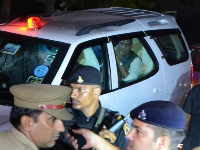 Union Home Minister Rajnath Singh visits injured BJP leader Brijpal Teotia in Noida on Saturday.