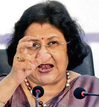 SBI chairman, Arundhati Bhattacharya during the announcement of 2nd quarter financial results of the bank, in Mumbai, recently.