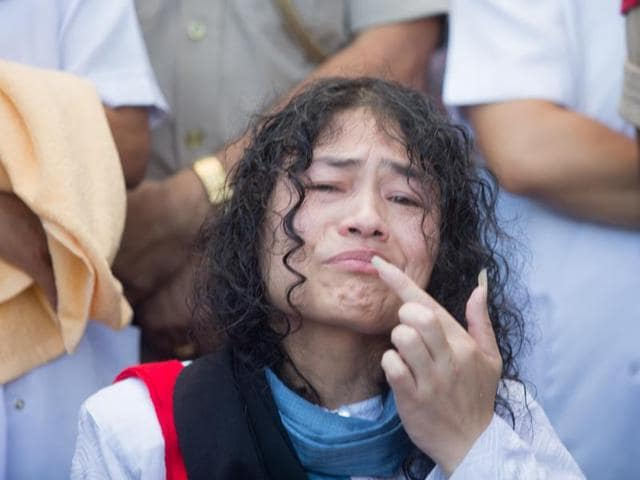 Irom Sharmila breaks her fast at a press conference in Imphal.