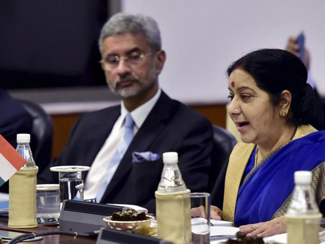 External affairs minister Sushma Swaraj during delegation level talks with her Chinese counterpart Wang Yi in New Delhi on Saturday.