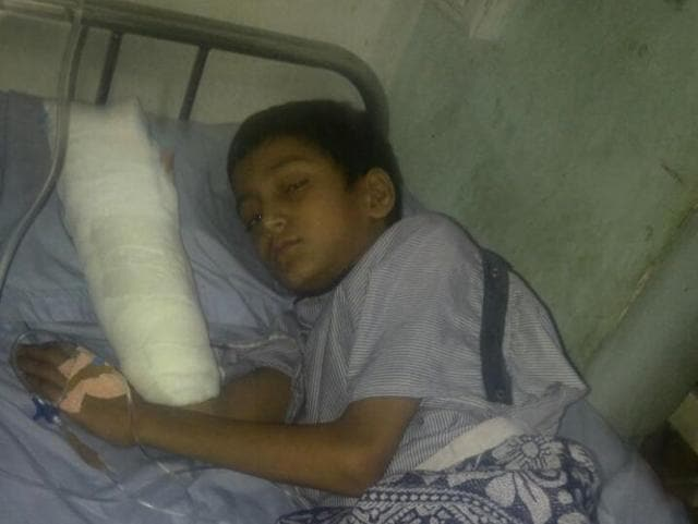 Deepak after his operation at the hospital