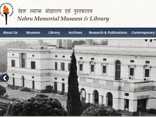 A screenshot from the Nehru Memorial Museum & Library website, which says '(NMML) was established in the memory of Jawaharlal Nehru (1889-1964) is an autonomous institution under the Ministry of Culture'.